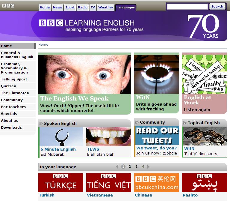 Il sito BBC Learning English e' ricco di risorse utili per imparare o migliorare l'inglese